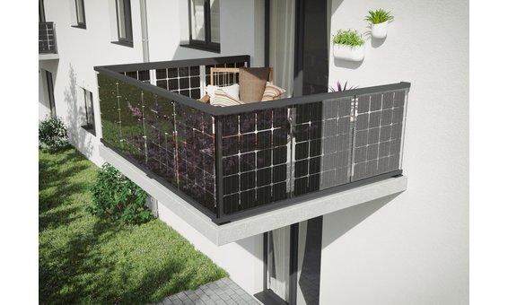 Solarglas Solar Balkongeländer | Bodenmontage = 95 Watt 20 zellen | 0.95m H. | 5m-15m