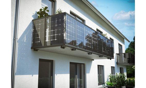 Solarglas Solar Balkongeländer | Deckenmontage = 130 Watt 28 Zellen | 1.30m H. | 5m-15m