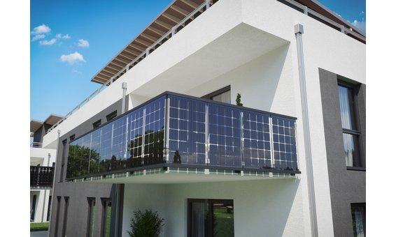 Solarglas Solar Balkongeländer | Stirnmontage = 110 Watt 24 Zellen | 1.12m H. | 5m-15m