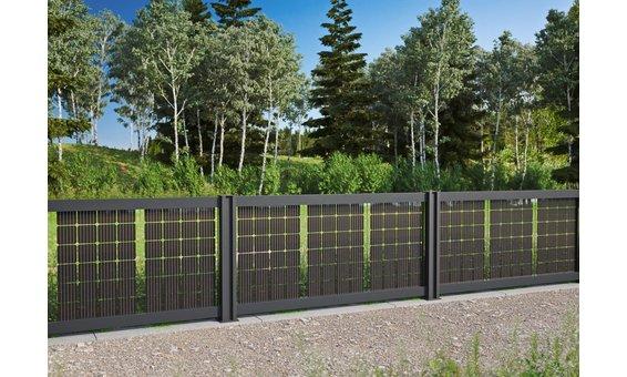 Solarglas SOLARZAUN DUPLEX (einseitig Strom) 117 Watt 24 Zellen | 1.11 m H. ab 7m