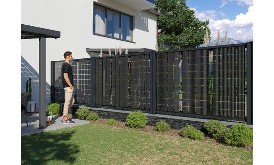 Solarglas SOLARZAUN DUPLEX (einseitig Strom) 175 Watt 36 Zellen | 1.59 m H Watt ab 7m