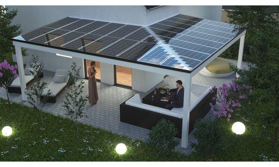 Solarglas Terrasse Erweiterung vom Standard Individuelle Module 150W/m2