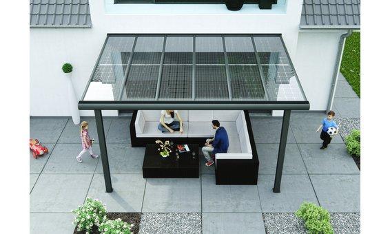 Solarglas Terrasse VA1 | Alu | 2.98 x 3.10m | 8 Module | 1.40 kWp