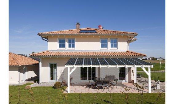 Solarglas Terrasse VH1 | Holz | 3.04 x 3.10m | 8 Module | 1.40 kWp